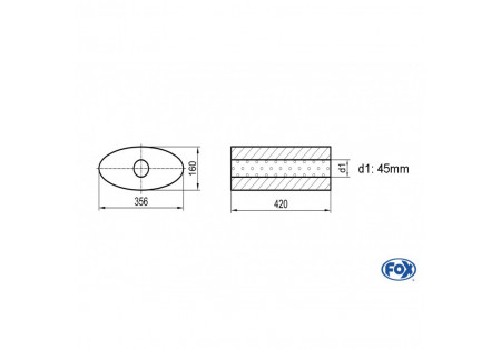 Uni-silenziatore ovale senza attacco - svolgitore 818 356x160mm, d1Ø 45mm, lunghezza: 420mm UNI-81842045o
