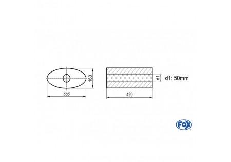 Uni-silenziatore ovale senza attacco - svolgitore 818 356x160mm, d1Ø 50mm, lunghezza: 420mm UNI-81842050o