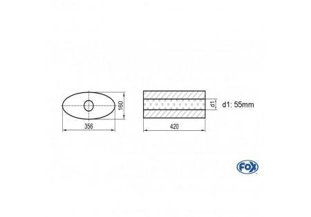 Uni-silenziatore ovale senza raccordo - svolgitore 818 356x160mm, d1Ø 55mm, lunghezza: 420mm UNI-81842055o