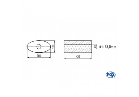 Uni-silenziatore ovale senza perno - svolgitore 818 356x160mm, d1Ø 63,5mm, lunghezza: 420mm UNI-81842063o