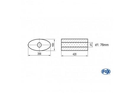 Uni-silenziatore ovale senza attacco - svolgitore 818 356x160mm, d1Ø 76mm, lunghezza: 420mm UNI-81842076o