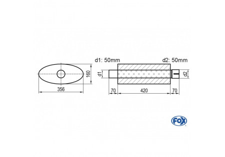 Uni-silenziatore ovale con perno - svolgitore 818 356x160mm, d1Ø 50mm d2Ø 50,5mm, lunghezza: 420mm UNI-81842050s