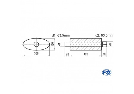 Silenziatore Uni ovale con raccordo - svolgitore 818 356x160mm, d1Ø 63,5mm d2Ø 64mm, lunghezza: 420mm UNI-81842063s
