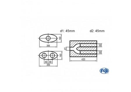 Uni-silenziatore gemello ovale con pantaloni - svolgitore 818 356x160mm, d1Ø 45mm d2Ø 40mm, lunghezza: 420mm UNI-H8184204540