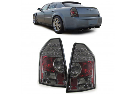 VETRO TRASPARENTE SET FARI POSTERIORI A LED NERO SMOKE PER Chrysler 300C BERLINA 04-11
