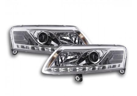 coppia fari luci di marcia diurna Daylight Audi A6 tipo 4F anno di costr. 04-08 cromato