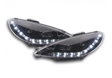 coppia fari luci di marcia diurna Daylight Peugeot 206 tipo S16 anno di costr. 98- nero