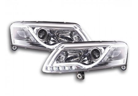 coppia fari Daylight coppia con luci di marcia diurna Audi A6 tipo 4F anno di costr. 04-08 cromato