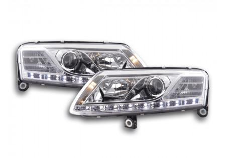coppia fari Daylight Audi A6 tipo 4F anno di costr. 04-08 cromato