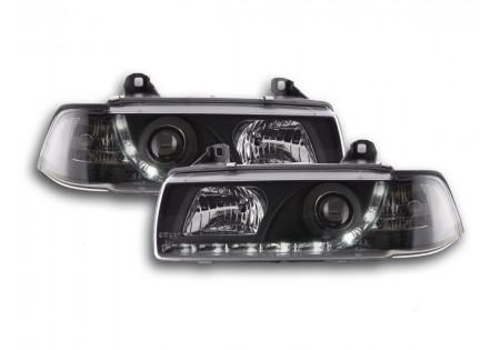 coppia fari luci di marcia diurna Daylight BMW serie 3 E36 Coupe nero