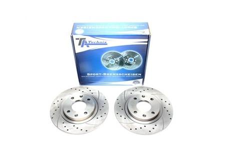 set dischi freno sportivi forati e baffati per Ford/Volvo posteriori