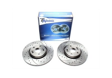 set dischi freno sportivi forati e baffati e ventilati per Hyundai / Kia anteriori EVOBS20374P