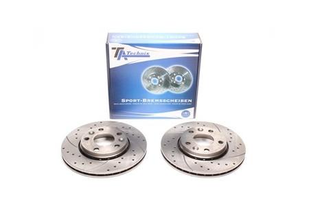 set dischi freno sportivi forati e baffati e ventilati per Ford / Land Rover / Volvo anteriori